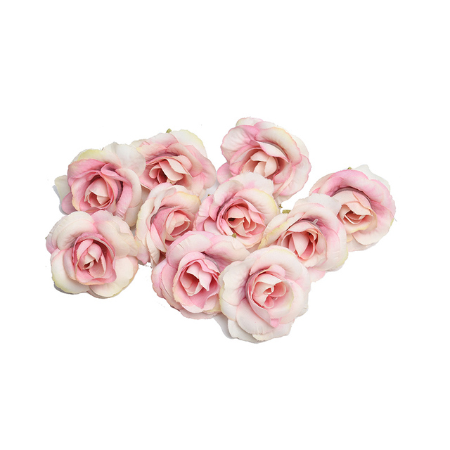 New 10pcs artificial flower 4cm silk rose flower head wedding party home decoration DIY wreath scrapbook gift box craft 3