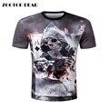 ZOOTOP МЕДВЕДЬ Новый дизайн череп покер печати Мужчины с коротким рукавом футболки 3d футболки повседневная дышащая футболка плюс размер футболка homme