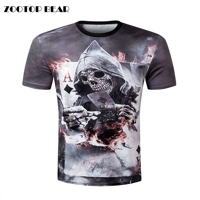Buy zootop bear new design skull poker for T shirt design sleeve print