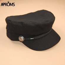 Aproms Fashion Black Hat Cap Women Casual Streetwear Solid Rope Flat Cap Elegant Autumn Winter Warm Baseball Hat Female 2017