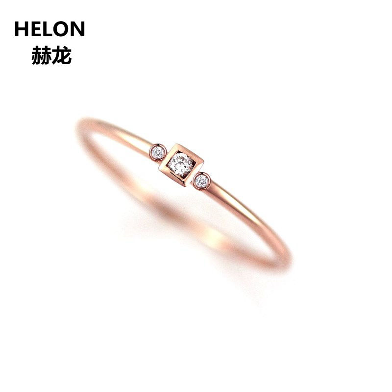 Solid 14k Rose Gold Natural Diamonds Engagement Ring for Women Anniversary Wedding Band Fine Jewelry solid 14k white gold natural diamonds engagement wedding ring anniversary women band