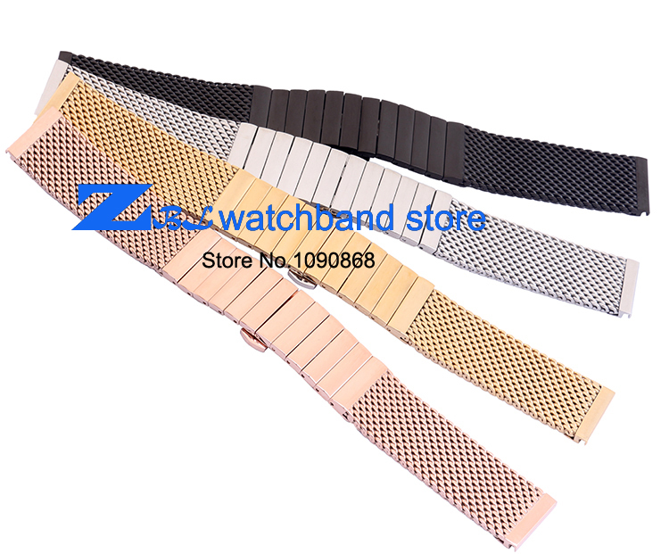 thick Stainless steel Watchband  Mesh steel strap width 20mm 22mm metal band mesh bracelet Butterfly silver black gold rose gold stainless steel bracelet solid metal watchband butterfly clasp18 20 21 22mm watch strap wristwatches band black silver rose gold