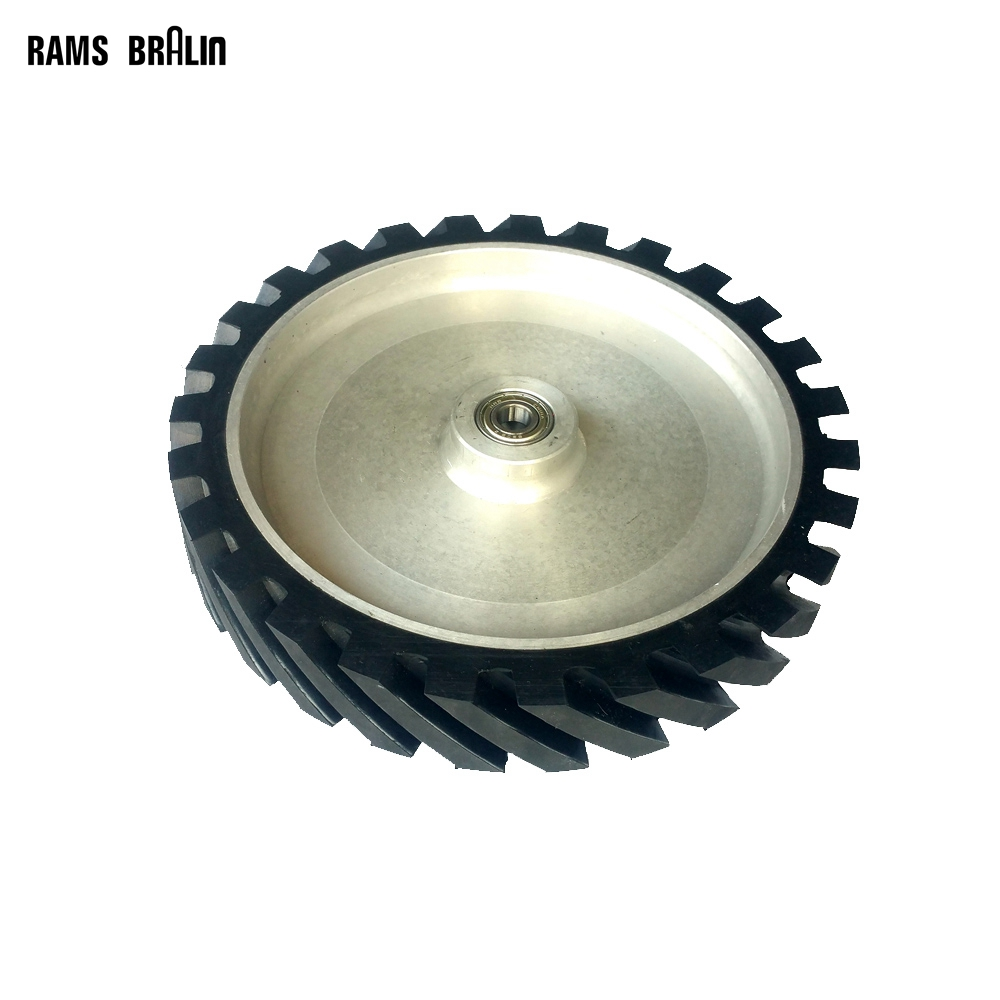 300*50mm Grooved Rubber Wheel Dynamically Balanced Belt Sander Polisher Wheel Sanding Belt Set Contact Wheel 300 50mm flat belt grinder contact wheel dynamically balanced rubber polishing wheel abrasive sanding belt set