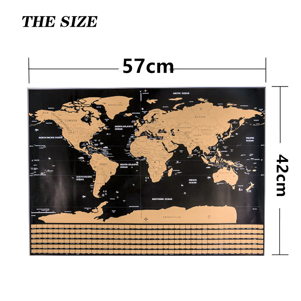 1PCS Scratch Map Black Coated World Map Creative Travel Trail Scratch Off Foil Layer Coating World Map School Office Supply