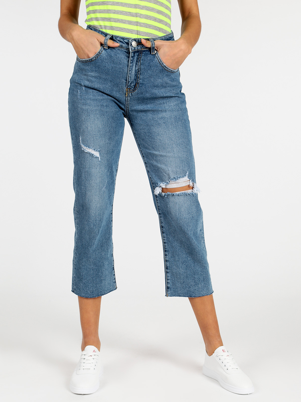 LITTLE BUTTERFLY Jeans Boyfriend High Waist With Tear