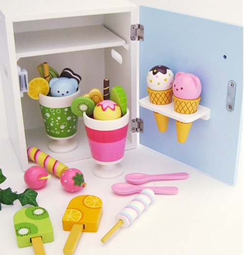 Baby Toys Ice Cream Refrigerator Wooden Ice Cream Kids