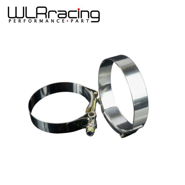 WLR RACING - 2PC/LOT SS304 3 CALMPS (79- 87)STAINLESS SILICONE TURBO HOSE COUPLER T BOLT CLAMP KIT HIGH QUALITY WLR5254