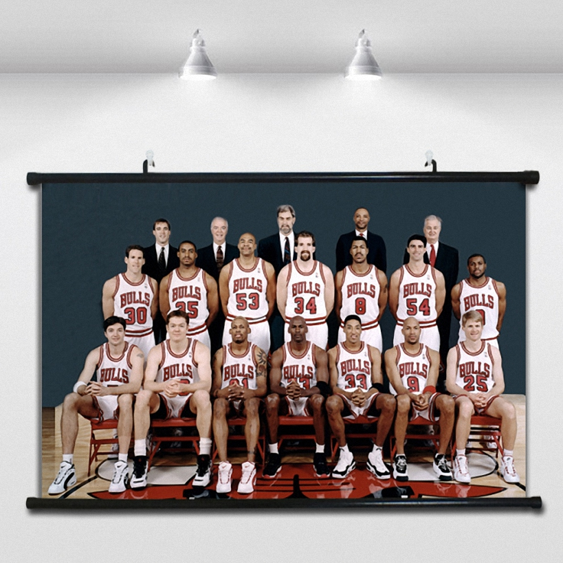 Old Bull team NBA Basketball Poster Wall paintings Wall Sticker Banners Hanging Waterproof Cloth Art Decor 40X60 CM image