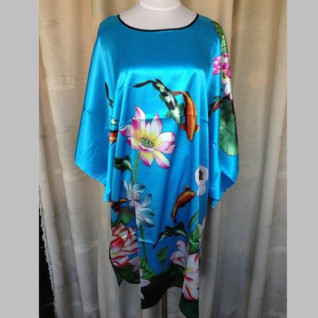 Продажи горячих Дам Халат Лето Китайских Женщин Район Пижамы Кимоно Ванна Платье Ночная Рубашка Один Размер Pijama Mujer W4S0078
