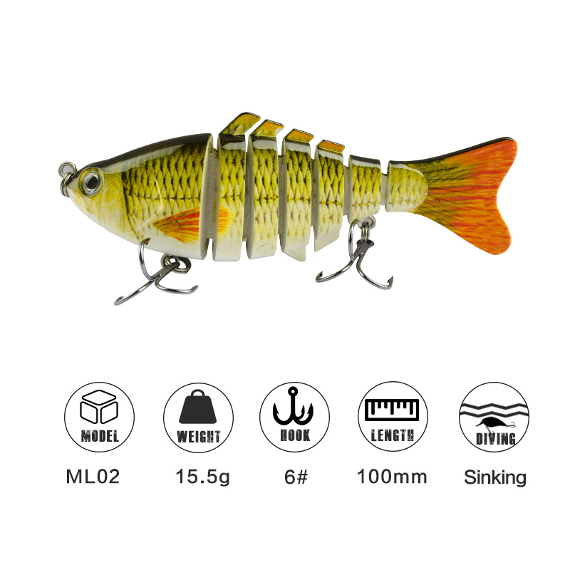 1pc 10cm Multi Jointed Fishing Lure Crankbaits Artificial Bait Realistic Swimbait Fish For Freshwater Saltwater Fishing Tackle
