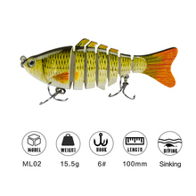 1pc 10cm Multi Jointed Fishing Lure Crankbaits Artificial Bait Realistic Swimbait Fish For Freshwater Saltwater Tackle