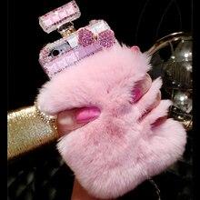 Futro perfumy butelka etui na telefony dla iPhone 11 Pro 6 6s 7 8 Plus XS Max XR Samsung Galaxy S10 S20 Ultra S8 S9 uwaga 10
