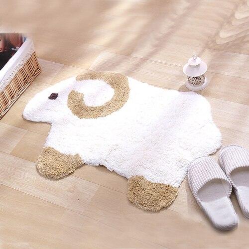 Bande dessinée mouton doux tapis coton imperméable tapis de bain antidérapant tapis pour enfants