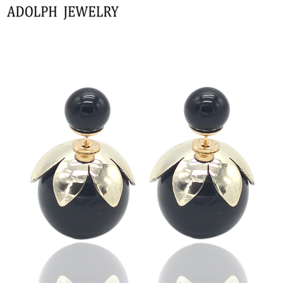ADOLPH Jewelry Wholesale 2015 Fashion Small Cute Lotus Stud Earrings For Women New Design Two Ball Earrings Christmas Hot Sale
