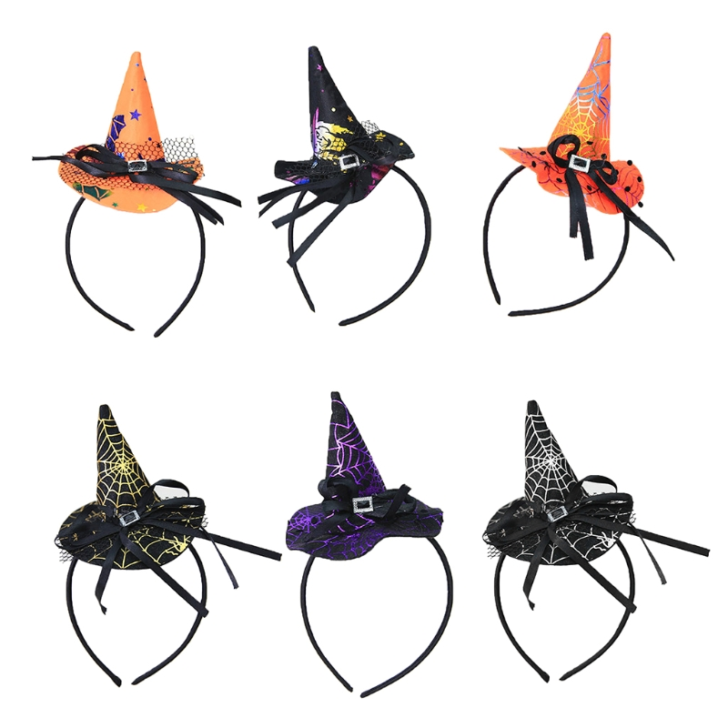 1PC Women Girls Witch Hat Headband Halloween Hair Hoop Lace Bowknot Party Costume 6 Colors