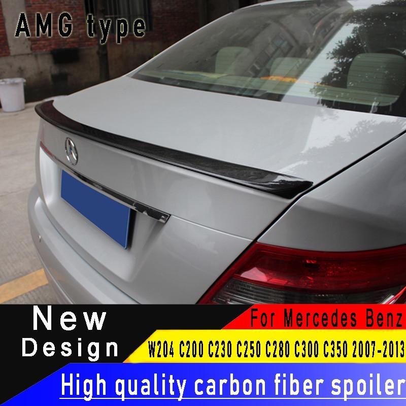 Para Mercedes-Benz W204 quatro-portas sedan Classe C C200 C250 C300 C350 C63 2007-2013 de Alta Qualidade cauda de fibra de carbono saqueador