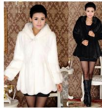 S/4Xl Womens Long Section Hoded Black And White Fur Jacket Single Breasted Rabbit Fur Overcoats Female Faux Fur Jackets J1635