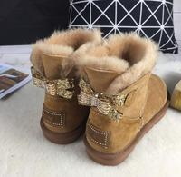 NEW Women Winter Classic bailey drill button bow 100% Real Cow Leather Style Women Rhinestone Snow Boots High quality Bowties