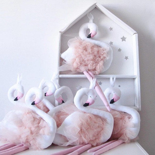 Nordic Style Plush Swan Baby Pillow Cute Baby Doll Baby Appease Pillow Baby Kids Room Decorations  1pcs