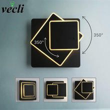Creative revolving 12w led wall lamp modern living room aisle staircase square lamps bedroom bedside Black/white wall light(China)