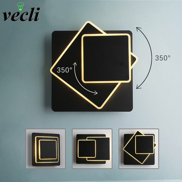 Creative revolving 12w led wall lamp modern living room aisle staircase square lamps bedroom bedside Black/white wall light