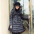 Casacos de inverno Para Baixo Mulheres Jaqueta de Marca de Alta Qualidade Novo Inverno jaqueta de Gola de Pele De Guaxinim Longo Para Baixo Casaco Parka Casacos Manto DM194