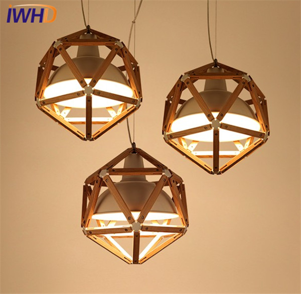 IWHD Loft Style Iron Wood Droplight Modern LED Pendant Light Fixtures For Dining Room Hanging Lamp Home Indoor Lighting hghomeart children room iron aircraft pendant light led 110v 220v e14 led lamp boy pendant lights for dining room modern hanging