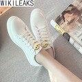 Wikileaks 2017 Женщины Повседневная Дышащий Легкие Улыбка Pattern Белые Туфли Женщина Твердые Босоножки Студенческие Обувь Zapatos Mujer
