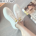 Wikileaks 2017 Women Casual Breathable Light Walking Smile Pattern White Shoes Woman Solid Lace-Up Student Shoes Zapatos Mujer