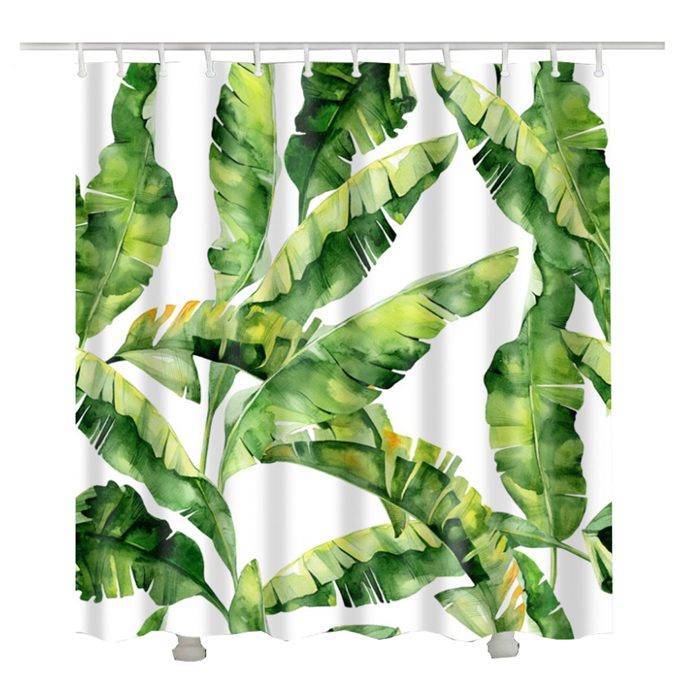 Wholesale Green plants pattern shower curtains waterproof Rainforest bathroom curtain Comfortable and simple bath curtain