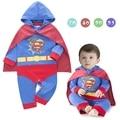 Детские костюм супергероя супермен младенческая малышей одежда ползунки + плащ с длинным рукавом baby boy одежда