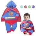 Traje do bebê supermen superhero clothes romper + casaco infantil criança bebê menino roupas de manga longa