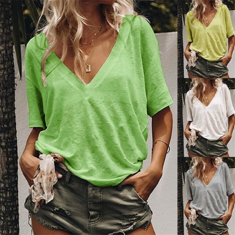 Women Casual   Blouse     Shirt   Summer V-neck Short Sleeve Loose Tops and   Shirts   Solid Plus Size Blusas Mujer Vestidos Femme 2019