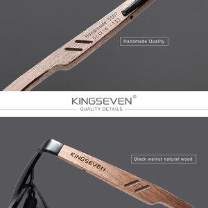 Image 3 - KINGSEVEN Brand New Design Aluminum+Walnut Wooden Handmade Sunglasses Men Polarized Eyewear Accessories Sun Glasses For Women