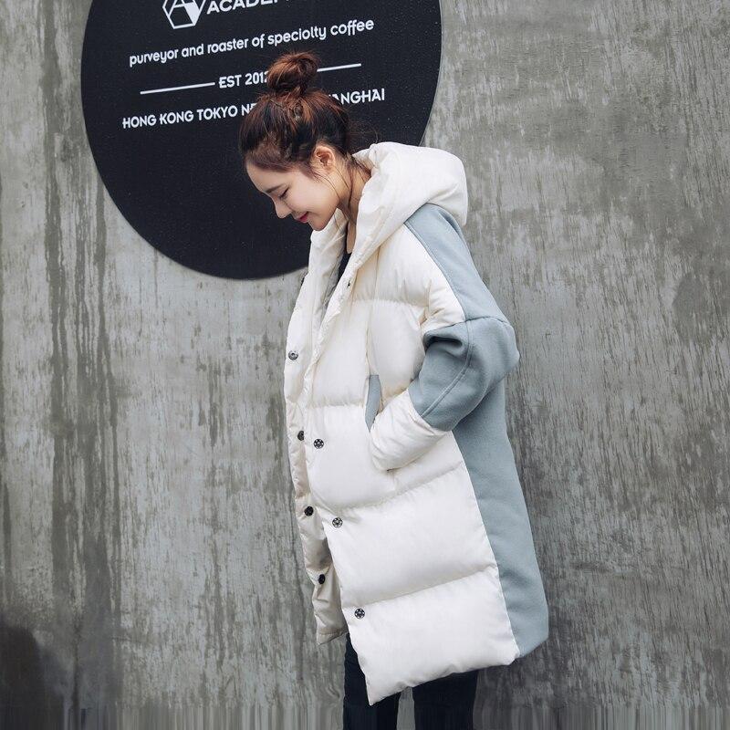Épaississement La Femelle Coton D'hiver Patchwork Beige Femmes Lâche À Mode Bat black Parkas Chaud Taille Manteau Plus Manches Casual Jq112 Capuchon De Laine 7n5qfwY