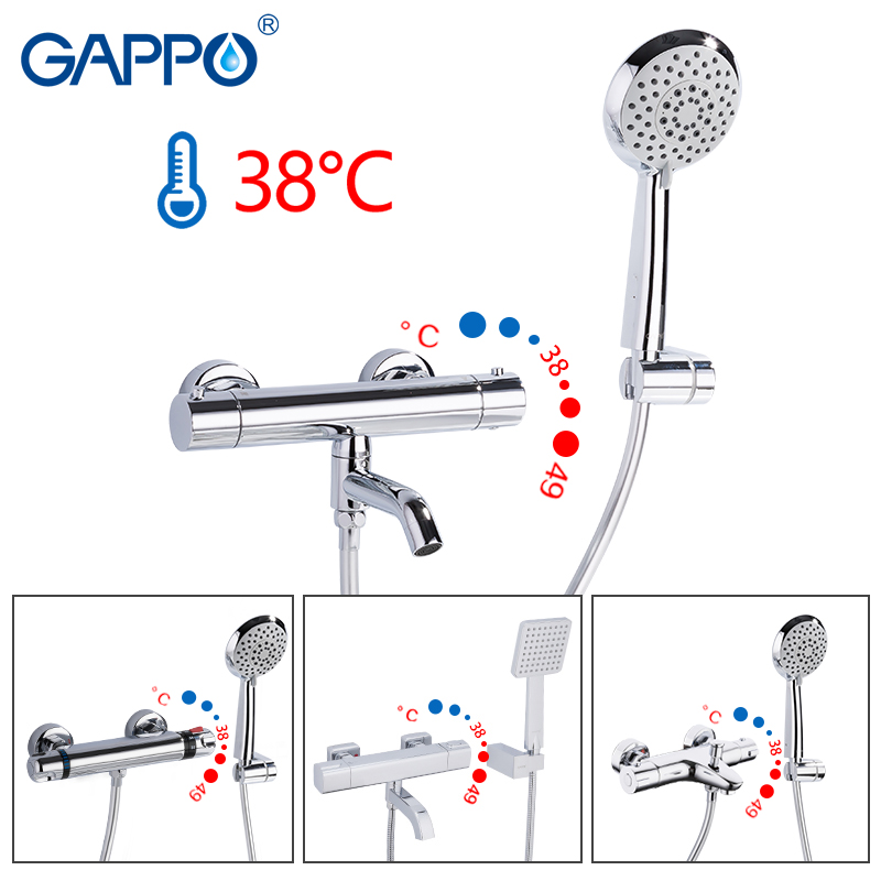 GAPPO Sanitary Ware Suite thermostatic shower bath mixer faucet tapware water mixer wall mounted faucet waterfall shower head