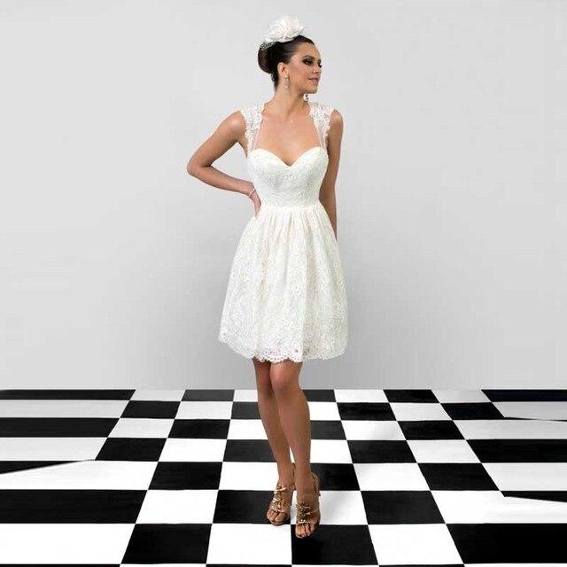 0ec403a97b6d Barato corto vestido de novia con apliques cariño cerradura a una línea  encaje vestidos boda 2016 nueva llegada
