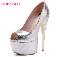 Lloprost ke Fashion Pumps Women Thin High Heels 16CM Peep Toe Party Wedding  Shoes Woman platform shoes Elegant Red Pink MY961 293fc4406a0a
