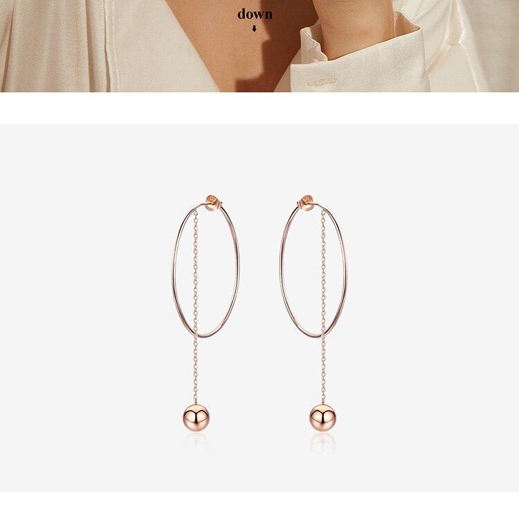 BAMOER Popular 100% 925 Sterling Silver Big Circle Round Long Chain Drop Earrings for Women Rock Style Earrings Jewelry SCE569