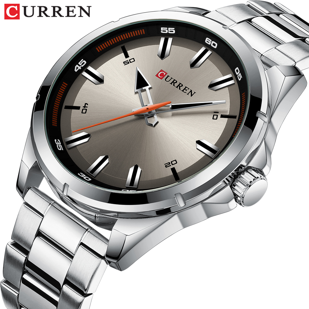 Luxury Brand CURREN Gray Watches Mens Quartz Business Wristwatch Fashion Clock Classic Steel Band Watch Reloj Hombres