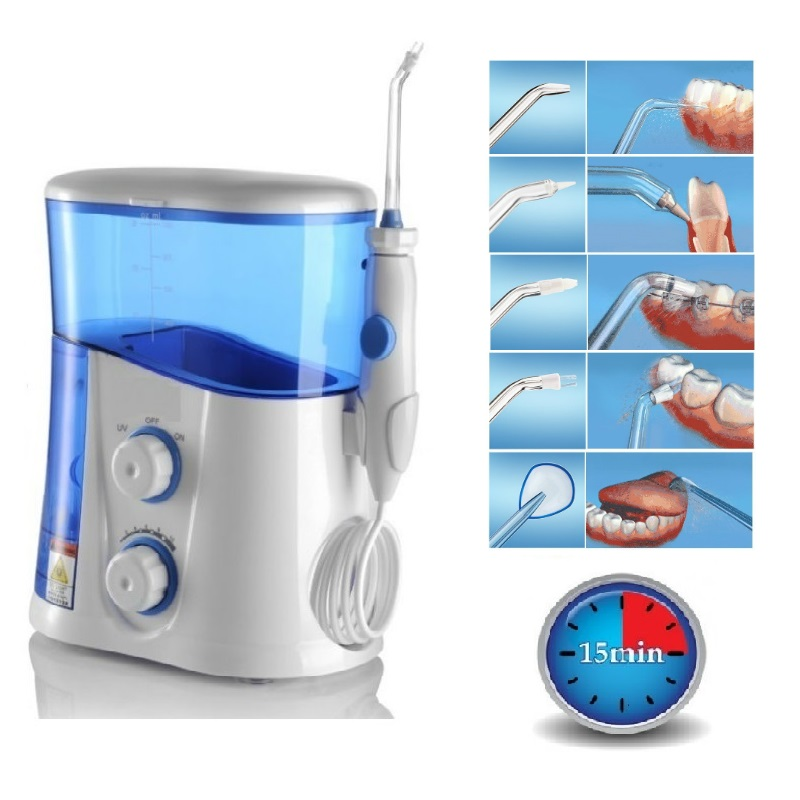Oral Irrigator & Dental Water Flosser with UV Sanitizer & 1000ml Water Tank + 7 Tips with Adjustable Pressure professional oral irrigator fc188 dental water flosser uv sterilizer dental irrigator dental care with 7 tips 1 handle eu plug