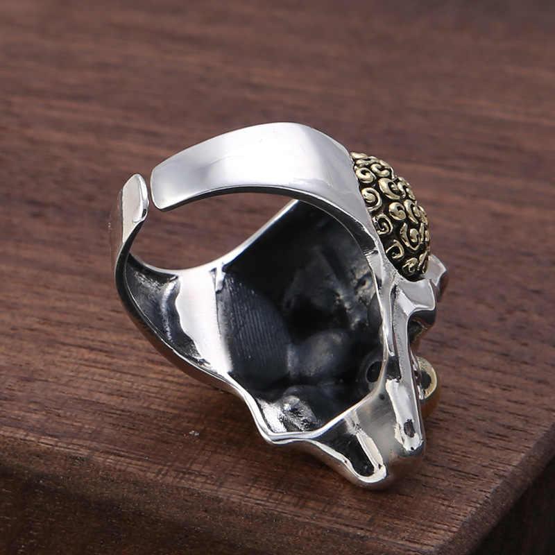 Homens Gótico Halloween Jóias Real 925 Sterling Silver Crânio Do palhaço mão Anel de dedo Dos Homens do vintage retro Anéis de Punk Rock esqueletos