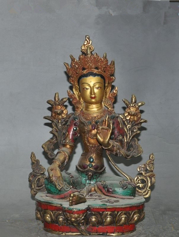 Statue de bouddha en bronze doré tara Guan Yin Bodhisattva 33 cm */tibet