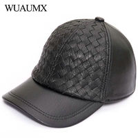 Wuaumx Brand Fall Winter Genuine Leather Baseball Caps For Men High Quality Real Sheepskin Men's Baseball Cap Solid Leather Hat