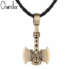 Chandler 1pcs Valknut Viking Axe Necklace For Men Axes Amulet Gothic Retro Pagan Pendant Vikings Jewelry Wholesale Free Shipping
