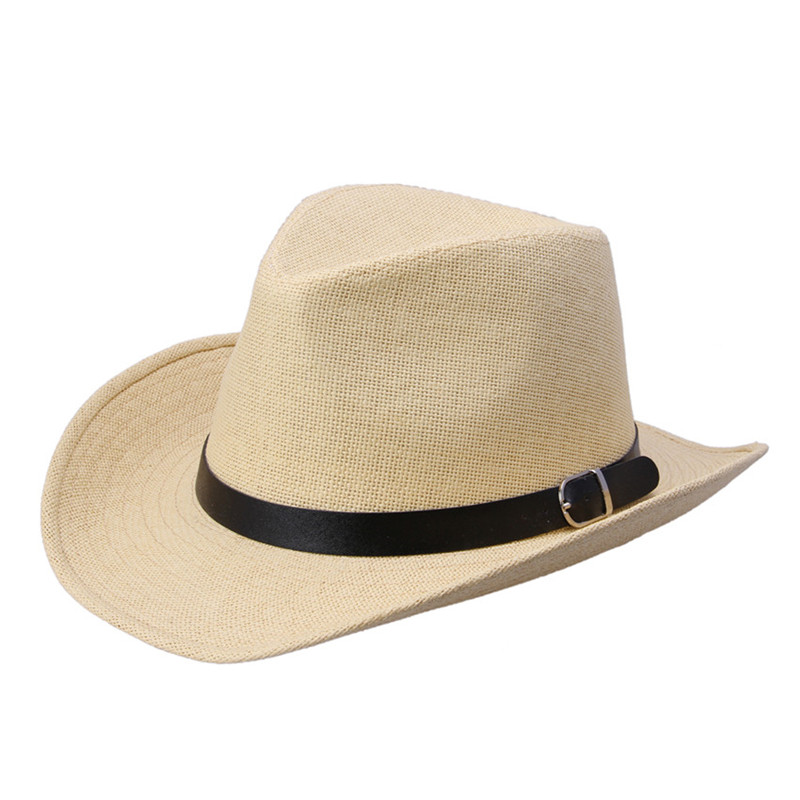 LUCKYLIANJI Men's Women's Fedora Jazz Leather Band Summer Beach Wide Brim Straw Panama Cowboy Western Hat (One Size :58CM)