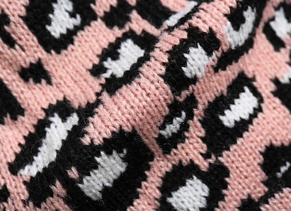 2018 Orang Dewasa Unisex Wanita Pria Musim Dingin Leopard Crochet Hat Topi Topi Beanie Kertas Dinding Hangat Kuning, Warna Pink