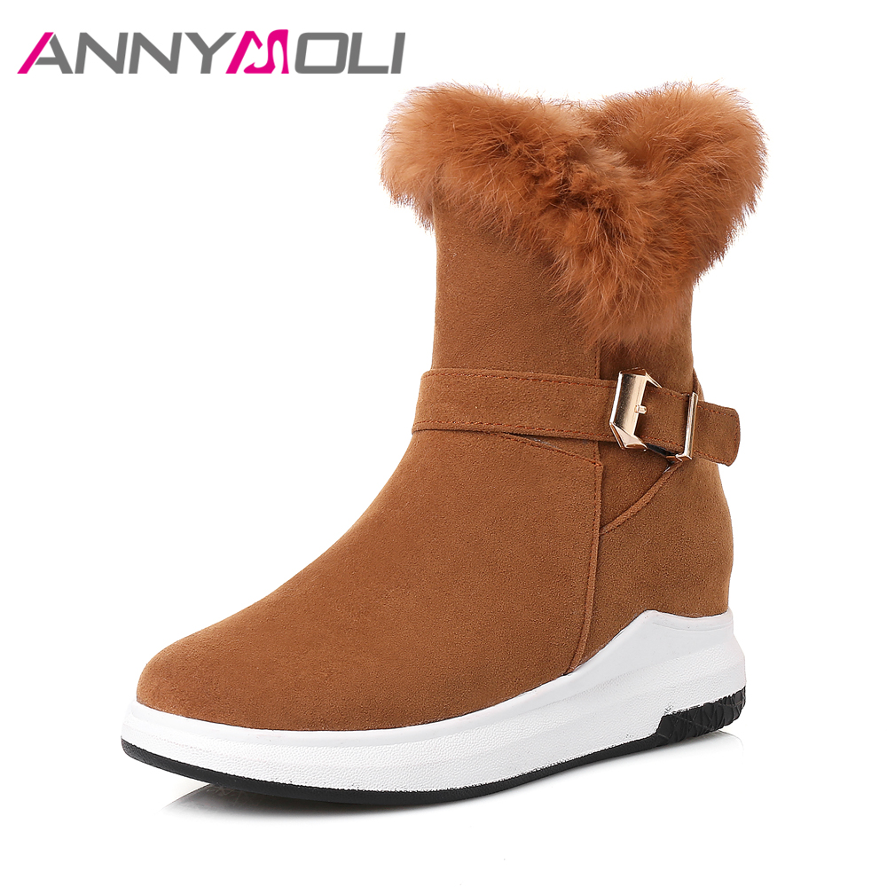 ANNYMOLI Women Winter Boots Warm Real Rabbit Fur Snow Boots Platform Wedges Ankle Boots Zipper Buckle Strap Low Heel 2018 Shoes