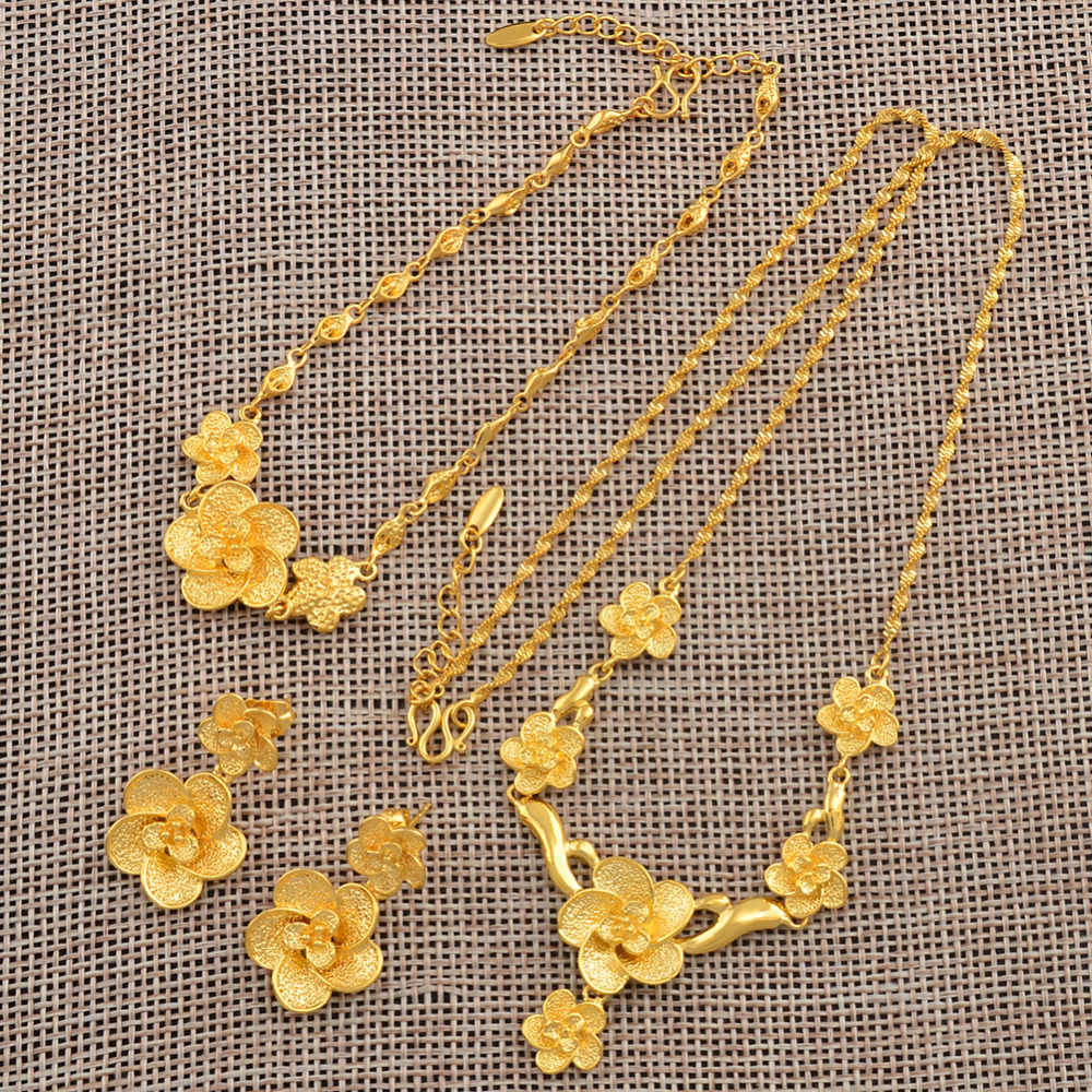 Anniyo Trendy Gold Color Jewelry Set Flower Pendant Necklace Earrings Bracelet for Women Bride Wedding Party Gifts #037804