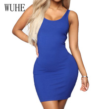WUHE New High Quality Summer Sleeveless O Neck Mini Dress Sexy Hollow Out Bodycon Pencil Women Slim Holiday Casual Dresses